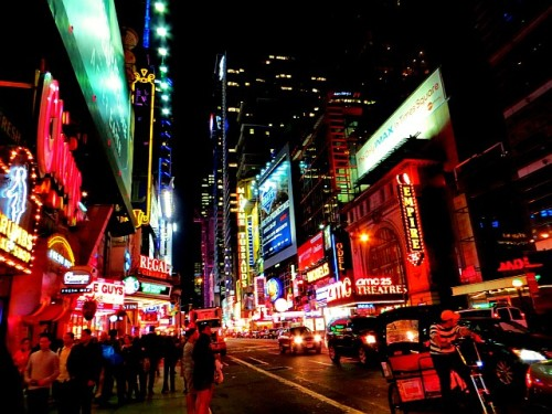 42nd Street at night