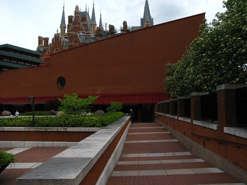 British Library, London, with the Victorian St. Pancras Hotel behind it